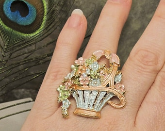 SALE - Pastel Bouquet Ring ~ Flower Basket Cocktail Ring ~ Large Ring ~ Up-Cycled Statement Ring Costume Jewelry - Adjustable Size