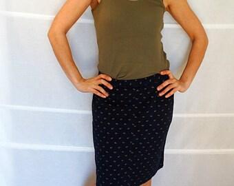 Short pencil skirt blue cotton skirt with pockets pencil skirt mini retro Lloyds Vintage 1980s Size 44 US size 10