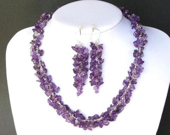 Set of Amethyst Chip Beads Chained Dangle NSAT1438