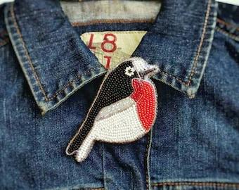 Bullfinch bird brooch Bird lover gift Christmas robin Bullfinches Embroidery beads brooch Nature lover gift Embroidery red bird brooch pin
