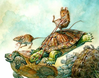 Turtle Race (print)- mouse rider, steeplechase, riding, sports, fantasy art, fairy tale, artwork, illustration