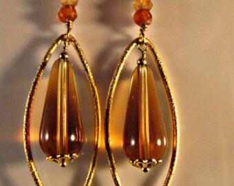 Gold Hoop Gemstone Earrings,hoop earrings,gemstone earrings,gold earrings,marquise hoops,dangle earrings,drop earrings,hessonite earrings