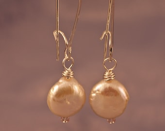 Coin Pearl on Kidney Wire Earrings - FREE SHIPPING