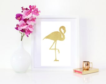 DIGITAL DOWNLOAD, Gold Flamingo, Flamingo Wall Decor, Flamingon, Tropical art, Gold art, Flamingo art