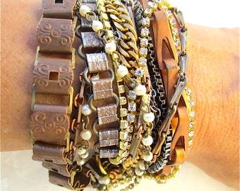 Multi Strand Bracelet Mixed Metal Cuff, Copper, Gold, Silver, Gunmetal, Rhinestone, Chunky Bridesmaid - He Said She Said Cuff