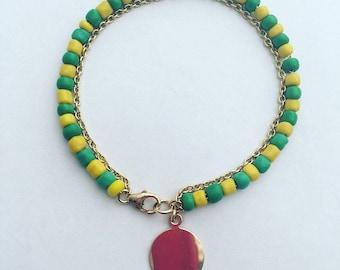 Green and Yellow Beaded Bracelet, Orula Bracelet, Gold Filled Bracelet