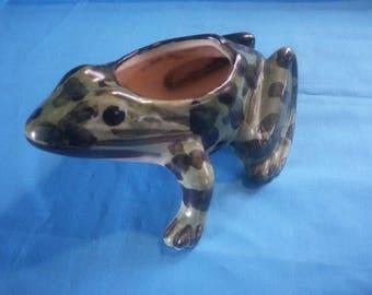 Vintage Ceramic Frog - Ceramic Chamo Frog - Frog Planter - Air Plant Holder - Succulent Planter - Spotted Frog Planter