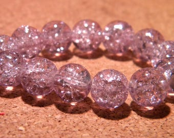 50 10 mm - purple - PF67 Crackle glass beads