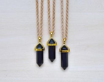 Gold Black Onyx Pendulum Pendant Necklace/ Onyx Pendulum Gemstone Necklace/ Pendulum Geometric Pendant Mineral Layering (EP-NTG14-BA)