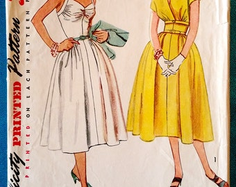 "Vintage 1953 dress and short jacket sewing pattern - Simplicity 4305 - size 12 (30"" bust, 25"" waist, 33"" hip) - 1950's"