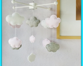 Clouds Baby Mobile, Baby Mobile, Clouds Nursery Mobile, Modern Nursery Decor, Baby Shower Gift, Light Pink Gray and White Mobile