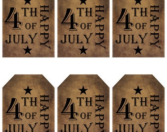 grungy tag set, primitive tags, craft supplies, scrapbooking - Happy 4th of July, black stars - digital PDF & jpeg - H4JGT03