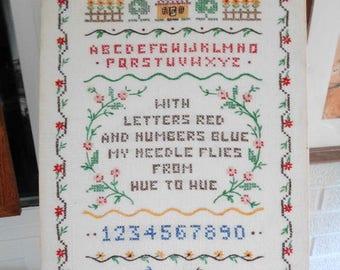 Cross Stitch Sampler on Linen  Not Framed