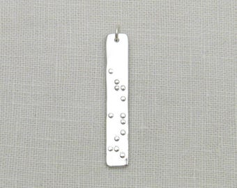 Custom Braille Jewelry, Silver Braille Pendant, Silver Bar Pendant, Personalized Braille Jewelry, Braille Name, Secret Message Jewelry