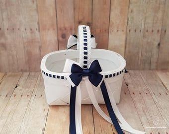 Flower Girl Basket, White Navy Blue Flower Basket, Wedding Flower Basket, wedding decoration, Rustic Wedding, Flower Basket