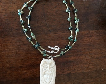 Carved Bone Owl & Maiden African Turquoise Necklace