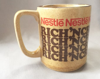 Taupe Hot Cocoa Mug // Ceramic Coffee Mug // Retro Home Decor // Vintage Coffee Mug // Nestle Mug (D7)