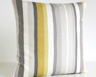 16x16 Stripe Pillow Cover, 18x18 Accent Pillow, 20x20 Yellow Cushion Cover, Mustard Pillow Sham, Throw Pillow Cover - Scandi Stripes Mustard