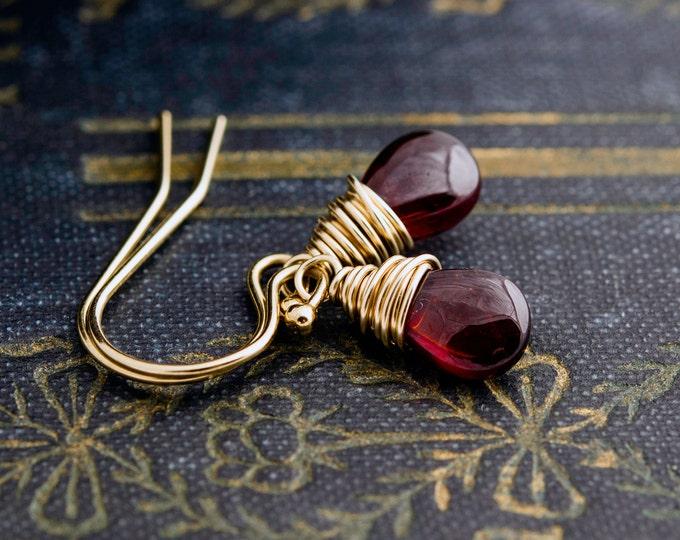 Garnet Earrings, Wire Wrapped, Drop Earrings, Gemstone Jewelry, Gold Earrings, January Birthstone, Dangle Earrings, PoleStar