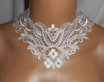 Ceremony necklace large white lace floral and arabesque with Swarovski Crystal on chain silver