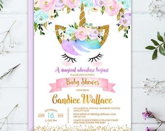 Unicorn Baby Shower Invitation, Magical Rainbow Floral Unicorn Baby Shower, Baby Girl Unicorn Baby Shower Printable Digital Invite