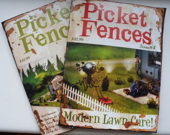 Pair of Picket Fences Replica Paper Magazines - Fallout 4 Inspired - Modern Lawn Care & The House of Tomorrow... Today!