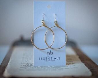 BRASS HOOP EARRINGS, Jenny Earrings, Statement earrings, Matte hoops,  brass hoop, continuous hoop, hammered hoop, pommier-benoit