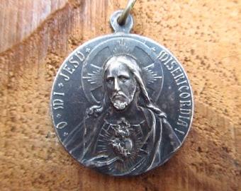 Vintage Silver Metal Religious Medallion - Silver Jesus and Madonna Pendant