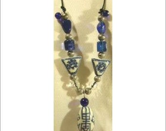 CHINESE BLUE PORCELAIN w/ Lapis Beads Thong necklace
