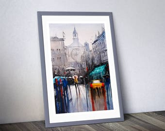 Fine Art Print of My Rainy Dubrovnik Croatia Watercolour Painting Signed Cityscape Scene Urban Giclee High Quality Impressionist Landscape