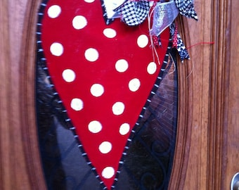 Polka dot heart burlap door hanger