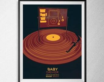 Baby Driver print, Illustration, Minimal film poster, minimalist movie art, custom posters, film and movie print, film art
