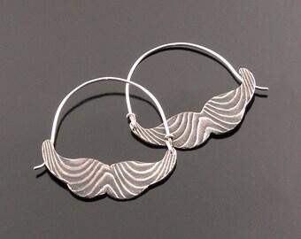Unique Sterling Mustache Hoop Earrings