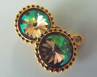 Luminous Green Swarovski Rivoli Charms in Tierra Cast beaded Edge Gold Setting 1 Pair Just enough Supplies