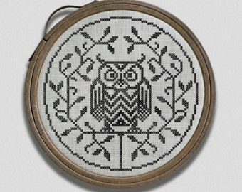 The Cranky Owl: A Halloween Hoop Art Embroidery Chart - PDF Pattern Booklet, direct download