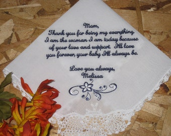 Mother of Bride Handkerchief personalized for wedding gift - Step mom, aunt, grandma