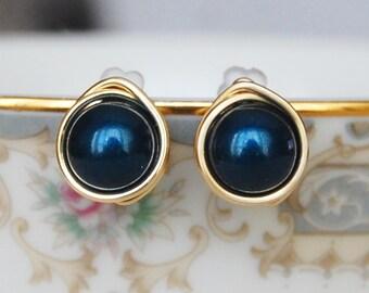 Light Navy Blue Studs , Bridesmaid Earrings , Navy Earrings , Silver Navy Studs