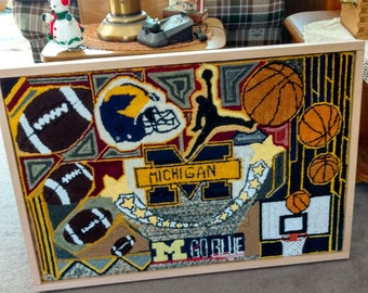 U of M framed hooked rug wall hanging