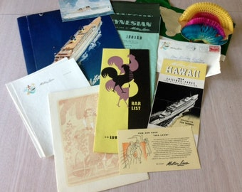 MATSON CRUISE Lines paper ephemera from the ship LURLINE --1954 Hawaii Sailing