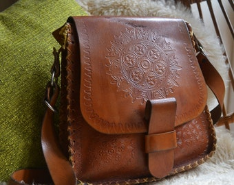Vintage 1970's Brown Leather Tooled Boho Bag Purse with Long Strap