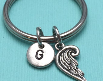 Angel wing keychain, feather keychain, wing keychain, personalized keychain, initial keychain, angel wing charm
