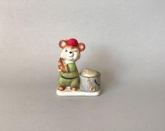 Vintage Votive Holder, porcelain votive holder, Bear votive holder, bear gift, gift for boy, baseball gift, Luvkin Critters, cute candle
