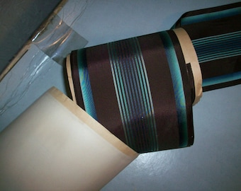 Vintage wide ribbon in a wonderful stripe robin's egg blue and chocolate