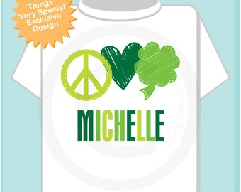 Peace Love St Patrick's Day Shirt, Personalized Shamrock Shirt or Onesie, 4 Leaf Clover Shirt for Toddlers and Kids (03052012b)