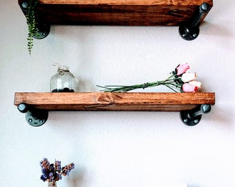 Multi Wood, Rustic Pipe shelves, Floating shelves, Reclaimed Wood, Rough Finish, Wood Shelf, Pipe Shelving, Modern Shelf, Floating Shelf