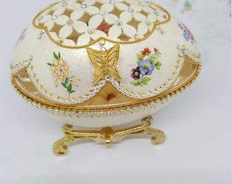 Goose Egg Trinket / Jewel Box.   Handmade Faberge-like ornament.