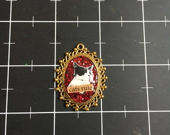 Cats Rule, Ornate Frame Kitty Pendant, 50% of the proceeds go to the current selected animal charity