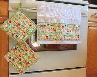 Kitchen Towel and Potholder Set, Retro Kitchen set, Housewarming Set