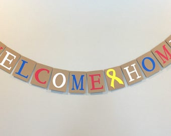 welcome home banner, military banner, deployment banner, red white and blue banner, support our troops banner