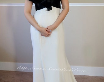 Black And White Long Satin Prom Bridesmaid or Formal Evening Dress - L'Amei 2017